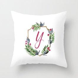 Jungle Gold Monogram Crest Y Throw Pillow