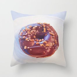 Chocolate Glazed Donut with Toffee Bits painting Throw Pillow