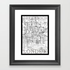 Greenwich London (B&W) Framed Art Print