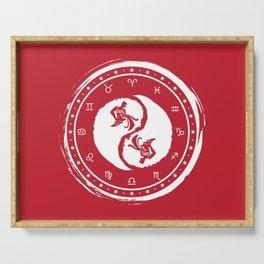 Aquarius Yin Yang Eleventh Zodiac Sign Serving Tray