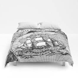 ship on a background map . black and white . keep moving forward Comforters