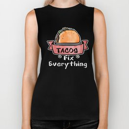 Tacos Fix Everything Mexican Food Foodie Biker Tank