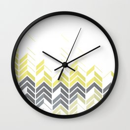 Chevron Sophisticate A – Gold / Yellow / Silver Abstract Pattern Wall Clock