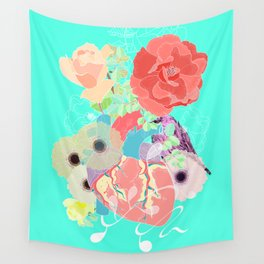 A heart, a bird and flowers. Wall Tapestry