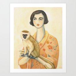 A Lady & A Monkey Art Print