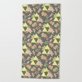 Garden of Power, Wisdom, and Courage Pattern in Grey Beach Towel