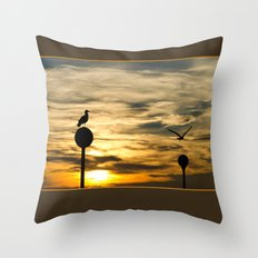 Birds in the sunset Throw Pillow