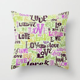 Vintage Love Words Throw Pillow