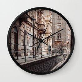 An alley up - Prague czech republic photo | Urban Urbanscape Street Color Cold Photography art print Wall Clock