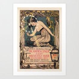 Italian art nouveau street gas lighting ad Art Print