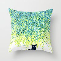 budi Throw Pillows featuring Cat in the garden under willow tree by Picomodi