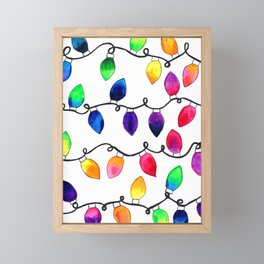 Colorful Christmas Holiday Light Bulbs Framed Mini Art Print