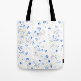 blue abstract hydrangea pattern Tote Bag