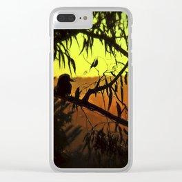 Kookaburra Silhouette Sunset Clear iPhone Case