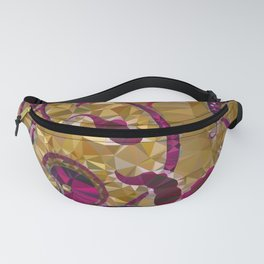 Magenta Gold Vintage Floral Low Poly Geometric Triangles Fanny Pack