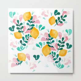 Abstract Lemons Composition // Yellow Turquoise Pink Palette Metal Print