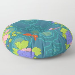 Nonya Peonies and butterfly Floor Pillow