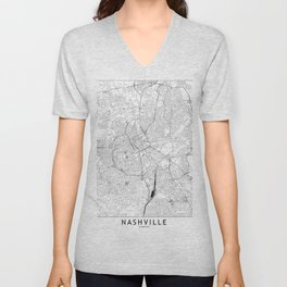 Nashville White Map Unisex V-Neck
