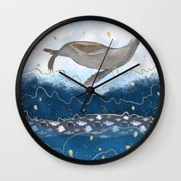 Flying Seal - Rising Waters Surreal Climate Change  Wall Clock