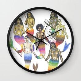 mermaids holding axes Wall Clock