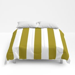 Dark yellow - solid color - white vertical lines pattern Comforters