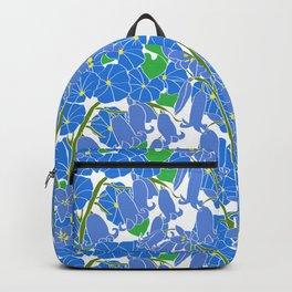 Morning Glory + Bluebells in White Backpack