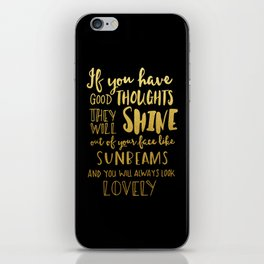 Good thoughts - black and gold iPhone Skin