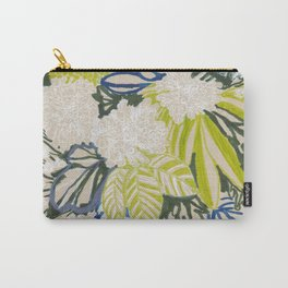 White chrysanthemums -ink floral Carry-All Pouch