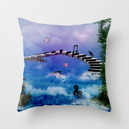 Music, piano with birds and butterflies Throw Pillow