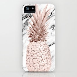 Rose Gold Pineapple on Black and White Marble iPhone Case