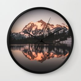 Alpenglow - Mountain Reflection - Nature Photography Wall Clock