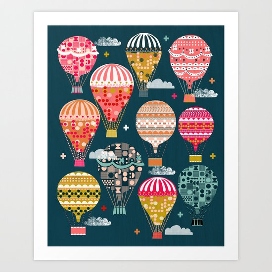 Hot Air Balloons - Retro, Vintage-inspired Print and Pattern by Andrea Lauren Art Print