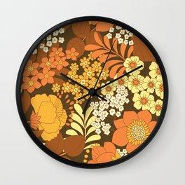 Brown, Yellow, Orange & Ivory Retro Flowers Wall Clock