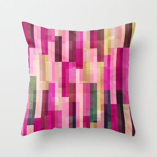 Pinks and Parallels Throw Pillow