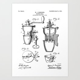 Coffee Mill Patent - Coffee Shop Art - Black And White Art Print