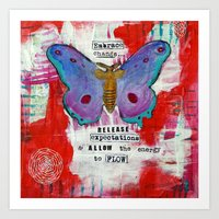 Messages From Butterfly - RED Art Print