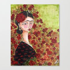 Frida Among Flowers Canvas Print