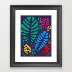Jungle Night Pattern Floral Decoration Framed Art Print