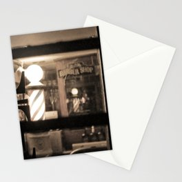 Barber Shop at Night Stationery Cards