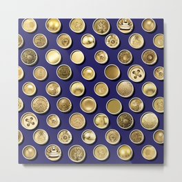 Gold Buttons Pattern Metal Print
