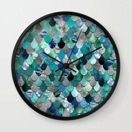 Mermaid Scales, Teal, Green, Aqua, Blue Wall Clock
