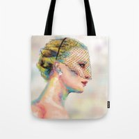 jennifer lawrence Tote Bags featuring Jennifer Lawrence by Pandora's Box Design Co.