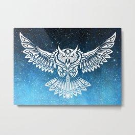 Heavenly Owl // Space Mosaic Metal Print