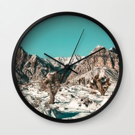 Vintage Cactus Snow & Mountains // Desert Landscape Photograph in the Mojave at Winter Red Rocks Wall Clock
