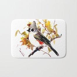 Titmouse and Fall colors foliage bird art design bird lover gift vintage style Bath Mat