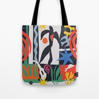 matisse Tote Bags featuring inspired to Matisse (black) by Chicca Besso