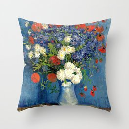 Vase With Cornflowers And Poppies Throw Pillow