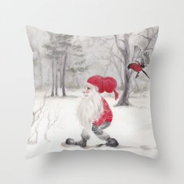 Gnome and bullfinch Throw Pillow