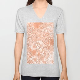 Modern tan copper terracotta watercolor floral white boho hand drawn pattern Unisex V-Neck