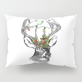 Christmas Stag with holly and fairy lights Pillow Sham